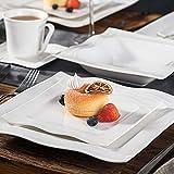 MALACASA, Serie Mario, 60 TLG. Cremeweiß Porzellan Geschirrset Kombiservice Tafelservice mit je 12 Kaffeetassen, 12 Untertassen, 12 Dessertteller, 12 Suppenteller und 12 Speiseteller - 9