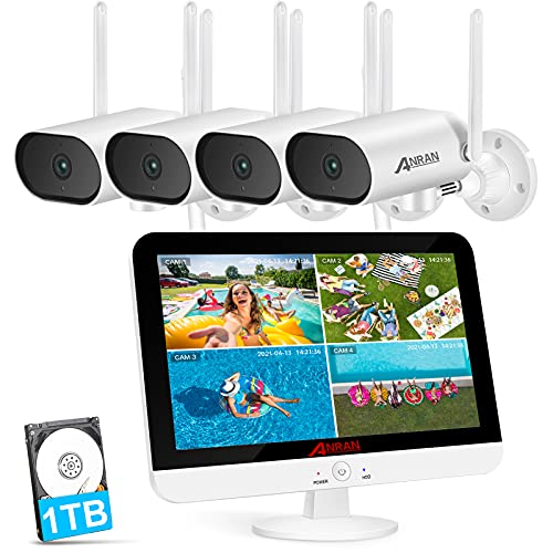 【Pan 180° Horizontal,2K】Wireless Security Camera System,ANRAN 8CH NVR...