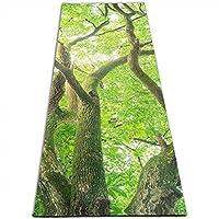 緑 樟脳の木 印刷 ヨガマット5mmプリント厚手の滑り止めエクササイズ&フィットネスマット、あらゆるタイプのヨガ、ピラティス、フロアワークアウト(180cmx 61cmx0.5cm)