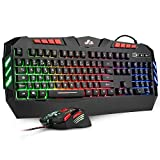 Rii RK900+ Ensemble Clavier souris gamer version AZERTY LED RGB Rétro-éclairage filaire clavier et souris de jeu pour Windows / Android / Mac / Xbox / PC / ordinateur portable / Andriod TV Box / HTPC