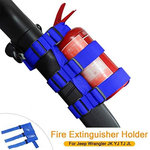 PSLER Universal Car Roll Bar Fire Extinguisher Holder Mount for Jeep Wrangler JK YJ TJ JL JKU JLU (Blue)