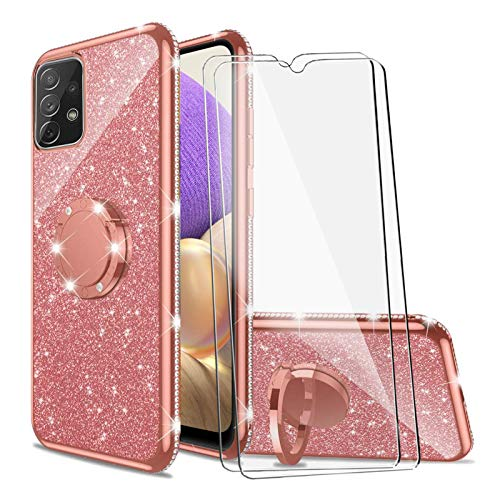 BTShare for Samsung Galaxy A32 5G Case & Tempered Glass Screen Protector (2 Packs), Luxury Glitter Sparkles Cute Bling TPU Silicone Kickstand Cover Slim fit for Women Girls Ring Holder Grip, Pink