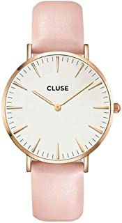 CLUSE La Bohème Rose Gold White Pink CL18014 Women's Watch 38mm Leather Strap Minimalistic Design Casual Dress Japanese Quartz Elegant Timepiece