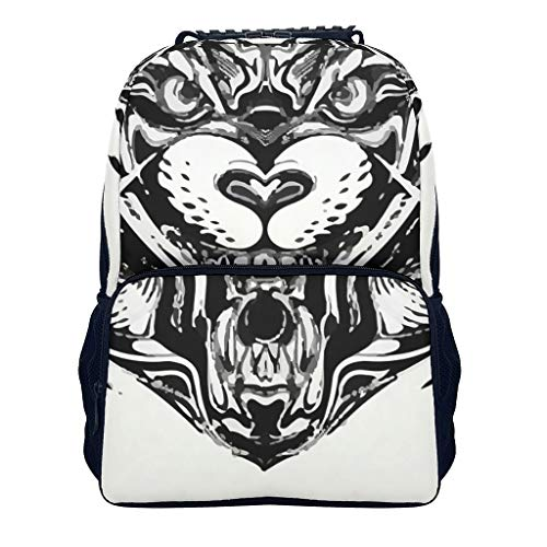 wolf blackblack Children's Schoolbags Elementary All Over Print for Youth wolf white onesize