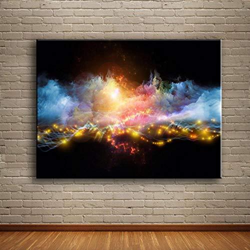 Canvas Prints Gepersonaliseerde schilderijen Vuurwerk met Rook Abstract Landschap Foto's voor Woonkamer Moderne Home Decor HD Schilderijen 40 * 60CM With frame