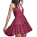 ForeMode Women Summer Halter Deep V Neck Sexy Patchwork Mini Short Dresses (S, Rose red)