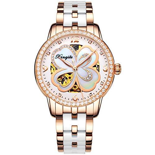 HHORD Frauen-Keramische Uhr, Klee Uhr, Keramik Automatische Uhr-Mode Rose Gold Wasserdicht Diamant,B