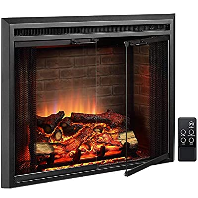 PuraFlame Klaus Electric Fireplace Insert with Fire Crackling Sound, Glass Door and Mesh Screen, 750/1500W, Black, 33 5/64 Inches Wide, 25 35/64 Inches High