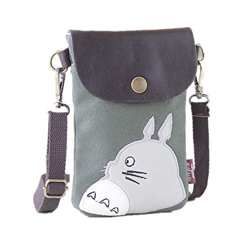 "Abaddon Canvas Small Cute Crossbody Cell Wallet Bag Phone Purse with Shoulder Strap (green totoro) 18"" L x 13"" W x 2""H"