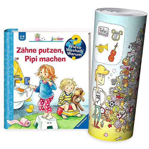 Ravensburger Junior à partir de 2 ans - Pourquoi ? Pourquoi ? Pourquoi ? Livre pour enfants | brossage des dents, faire pipi + Poster d'objets cachés pour enfants