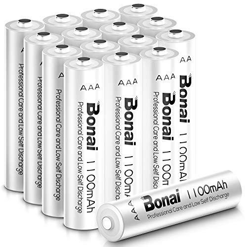 BONAI 1100mAh AAA Rechargeable Batteries 1.2V Ni-MH High-Capacity Batteries AAA 16 Pack