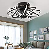 TFCFL 22.8' Ceiling Fan with Light, Modern LED Cage Chandelier Flush Mount Warm White Lamp with Remote Control 3-Speed for Bedroom Dining Room (Black)