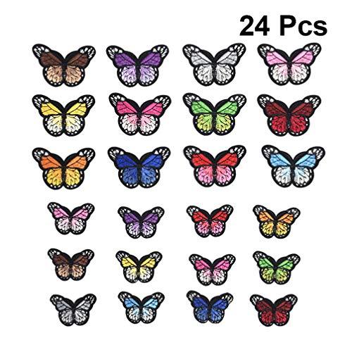 Healifty 24 stücke Schmetterlinge Appliques lebendige Stickerei Patches DIY Handwerk für Kleidung jacken hüte rucksäcke Jeans 12 Farben