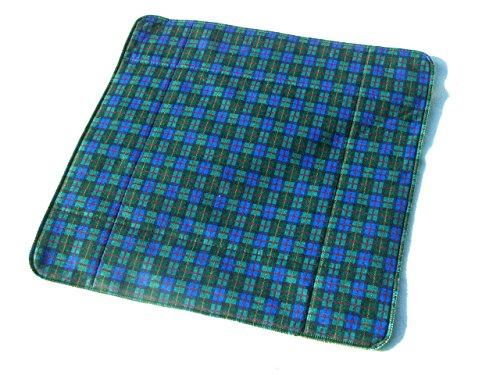 MEX-LINE Inkontinenz Stuhlauflage Design: Karo Klein (blau/grün), wasserdichte Sitzauflage/Sitzkissen/Nässeschutz, waschbar und wiederverwendbar, ca. 45 x 45 cm