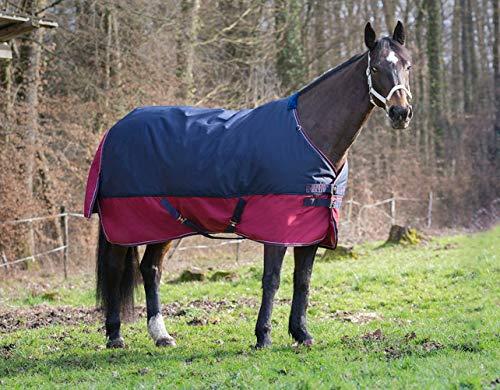 Reitsport Amesbichler Pferde Outdoordecke Weidedecke Equitheme TYREX 1200 Denier 50g Füllung, wasserdicht, atmungsaktiv, Kreuzgurte, Schweiflatz, 145 cm