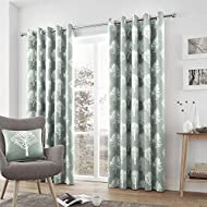 """Fusion - Woodland Trees - 100% Cotton Pair of Eyelet Curtains - 46"""" Width x 90"""" Drop (117 x 229cm) i..."""