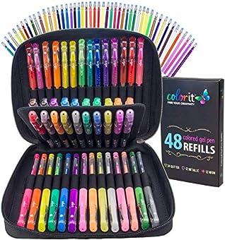 ペンの大人用カラーリングブック – 48 Assortedプレミアムアーティスト品質ゲルペンプラス48インクRefills、旅行ケース、とギフトボックス。Includesキラキラ、メタリック、とネオンGel Pens