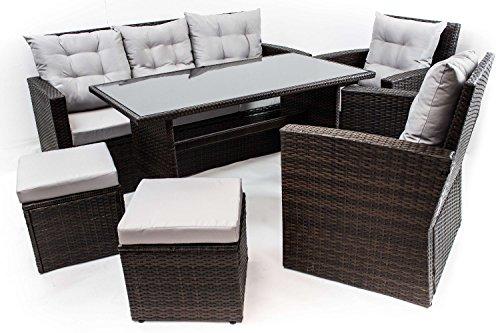 AVANTI TRENDSTORE - Andalusia - Set da giardino con tavolo incluso, in polirattan marrone scuro e vetro nero