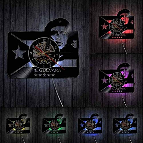 TIANZly Wanduhr Dekoration Che Guevara Porträt Mit Kubanischer Flagge Cuba Revolution Man Cave Wandkunst Wanduhr Socialist Vintage Vinyl Record Wanduhr-with_Led