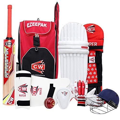 CW Junior Sport Cricket-Set rot Größe Nr. 4mit Kaschmir Weide Premium Qualität Cricket Bat ezzepack Schulter Kit Bag Ideal für 7–8Jahr Kind