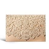 WISHMADE Laser Cut Wedding Invitations Gold Pocket Invite Cards with Envelopes Wedding Invites Kit Lace Flora Favors Blank Printable Cardstock for Engagement Bridal Shower CW072 (20 Pieces)