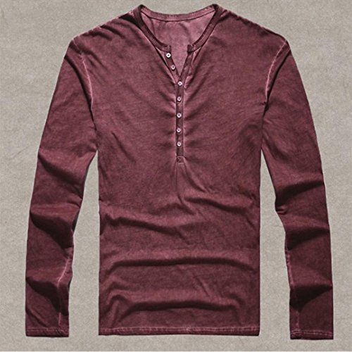 Men Casual Vintage Long Sleeve Button Up V-Neck T-Shirt Henley Tops Wine