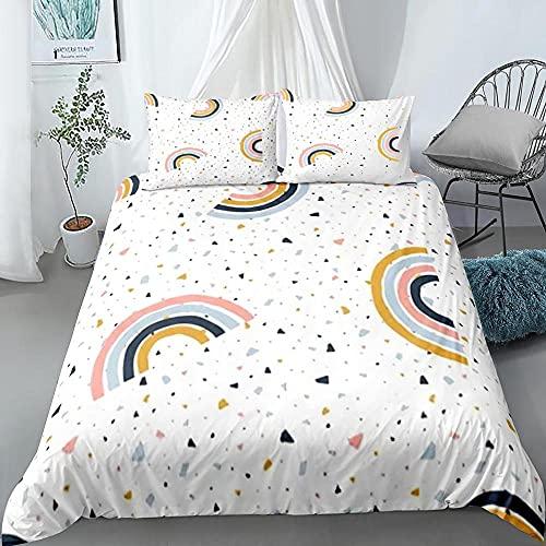 Funda Nordica Cama 90 Arcoiris Simple Microfibra Juego de Ropa de Cama con 2 Fundas de Almohada 50x75 cm Conjunto de Dormitorio