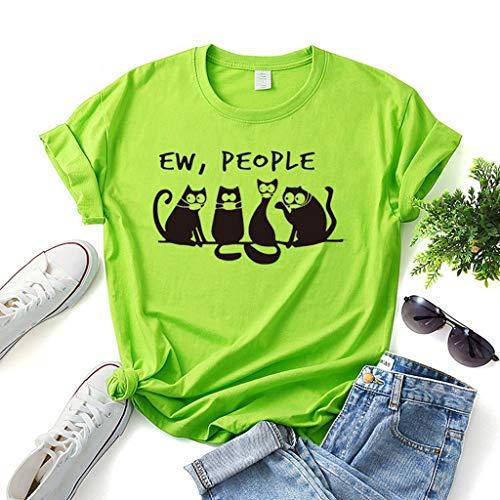 LXHcool Coron_avirus EW Persone Mascherina del Gatto Nero di Cotone personalità degli Uomini t-Shirt e Top Donne (Color : Green, Size : M)