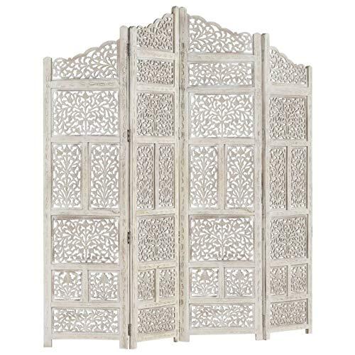 pedkit Biombo Separador Decoración,Separador de Ambientes Plegable, Divisor de Habitaciones,Biombo 4 Paneles Tallado a Mano Madera Mango Blanco 160x165 cm