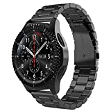 Correa para reloj de pulsera, 22 mm, acero inoxidable, para Motorola Moto 360 2ª Gen, 46 mm, correa de repuesto de metal en negro