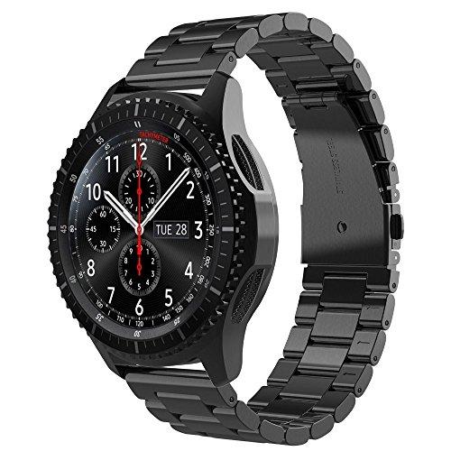 Zubehör für Samsung Gear S3 Frontier/Classic 22mm Ersatz Armband Uhr Metall Band Edelstahl (Schwarz)