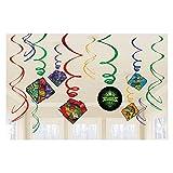 amscan-672209 tortugas ninja Decoraciones de Remolino Coloridas con el Tema Mutantes adolescentes-12 Piezas, Color (672209)