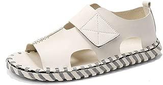 SHENLIJUAN Summer Stitching Sandal for Men Beach Water Shoes Microfiber Leather Outdoor Open Toe Hook&Loop Strap