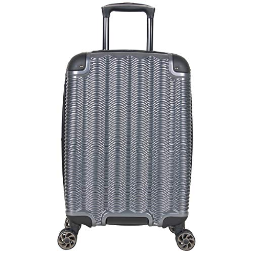 Kenneth Cole Reaction Wave Rush 20' Lightweight Hardside 8-Wheel Spinner Expandable Carry-On Suitcase, Metallic Charcoal