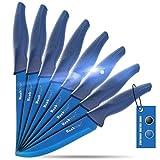 Wanbasion Azul Cuchillos De Carne Acero Inoxidable Cortar, Set De Cuchillos De Mesa Sierra, Juego De Cuchillos Para Filetear Carne Arcos No Serrado 8 Piezas