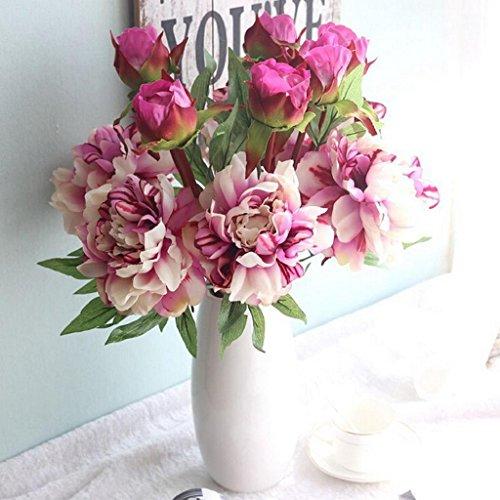Longra Wohnaccessoires & Deko Kunstblumen Blumenstrauß Künstliche gefälschte Pfingstrose Seide Blumen Hochzeitsfest Haus Gartendekor (C)