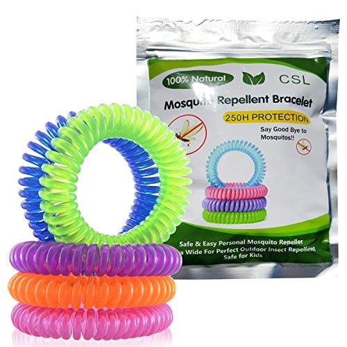 CSL Mosquito Repellent Bracelets - 10 Pack - All Natural, Deet Free and Waterproof Bands for Adults and Children Foiled Packed