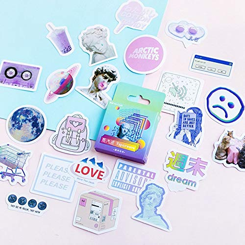 NO LOGO Zhao 45pcs / Box Sticker Vaporwave DIY Planet Sticky Papier Kawaii Mond Pflanzen-Aufkleber for Dekoration Tagebuch Scrapbooking (Farbe : Design 2)