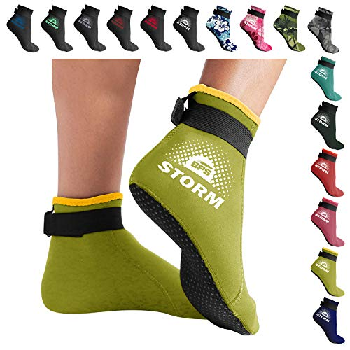 BPS 'Storm Sock' Neoprene Socks - for Kids and Adults - Socks for Snorkeling, Beach Volleyball, Surfing, Diving, Snorkeling, Swim Fin Socks - Low Cut (Yellow/White Accent, Large)