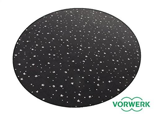 HEVO Vorwerk Bijou Stars schwarz Teppich   Kinderteppich   Spielteppich 160 cm Ø Rund Sonderedition