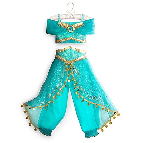 Disney Disfraz de jazmín para niños, talla 5/6, color azul