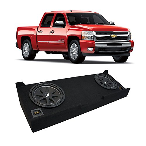 "Compatible with 2007-2013 Chevy Silverado Crew Cab Truck Kicker Comp C12 Dual 12"" Sub Box Enclosure - Final 2 Ohm"