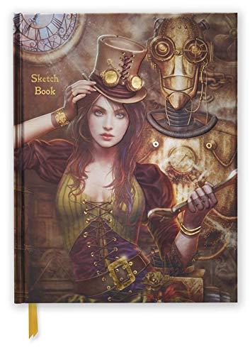 Premium Skizzenbuch: Steampunk: Unser hochwertiges Blankbook mit festem, künstlerisch geprägtem Einband im Format 28 cm x 21,6 cm