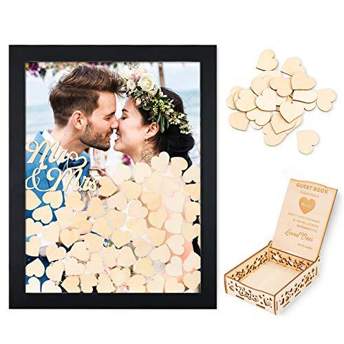 Creawoo Marco de madera para libro de firmas (parte trasera extraíble) con 100 corazones vacíos y buzón de invitados para regalos de boda (negro)