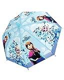 Parapluie manuel Reine des neiges avec Elsa et Anna sur fond bleu