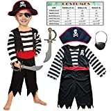 Leadtex Children's Pirate Costume for Toddlers Boys Girls with All in one Pirate Suit,Cutlass,Eyepatch (Toddler3-4, White/Black)
