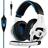 [2018 Nueva versión Xbox one Gaming Headset] SADES SA810 Auriculares Over-Ear Stereo Gaming Headset con micrófono Bass Control de volumen Auriculares Gaming para Xbox One / PS4 / PC / Laptop (Blanco)