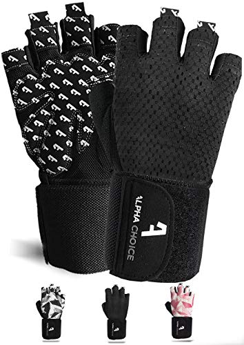 Alphachoice Performance Fitness Handschuhe Damen und Herren mit Handgelenkschutz - Trainingshandschuhe für Krafttraining, Bodybuilding, Gewichtheben (XL, Schwarz)