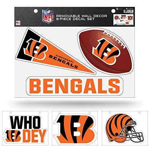 NFL Cincinnati Bengals NFL Removable Wall Decor Set, Team Color, Contains 4 - 8.5' x 11' Sheets
