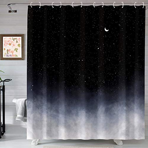 Neasow Black Shower Curtain,Stars and New Moon Bathroom...